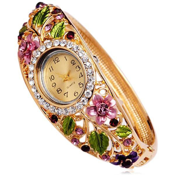 Floreale - 4 Colors Crystal Flower Gold  Bracelet  Quartz Watch - LA MIA CARA JEWELRY - 4