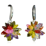 Floria - CZ Diamond Sterling Silver Flower Shape Drop Earrings - LA MIA CARA JEWELRY - 1