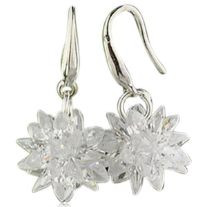 Floria - CZ Diamond Sterling Silver Flower Shape Drop Earrings - LA MIA CARA JEWELRY - 6