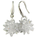 Floria - CZ Diamond Sterling Silver Flower Shape Drop Earrings - LA MIA CARA JEWELRY - 3
