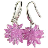 Floria - CZ Diamond Sterling Silver Flower Shape Drop Earrings - LA MIA CARA JEWELRY - 4