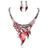 Foglie Di Fiori - 6 Colours Crystal Enamel Flower Leaves Necklace & Earrings Set - LA MIA CARA JEWELRY - 1