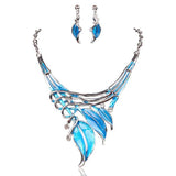 Foglie Di Fiori - 6 Colours Crystal Enamel Flower Leaves Necklace & Earrings Set - LA MIA CARA JEWELRY - 2