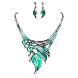 Foglie Di Fiori - 6 Colours Crystal Enamel Flower Leaves Necklace & Earrings Set - LA MIA CARA JEWELRY - 3