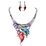 Foglie Di Fiori - 6 Colours Crystal Enamel Flower Leaves Necklace & Earrings Set - LA MIA CARA JEWELRY - 4