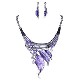 Foglie Di Fiori - 6 Colours Crystal Enamel Flower Leaves Necklace & Earrings Set - LA MIA CARA JEWELRY - 6