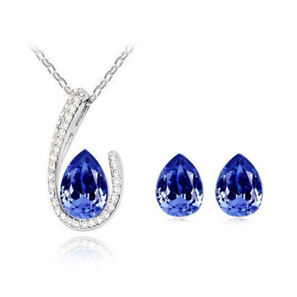 Franca - 4 Colors Swarovski Crystal Water Drop Silver Pendants Necklace & Earrings - LA MIA CARA JEWELRY - 5