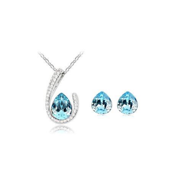 Franca - 4 Colors Swarovski Crystal Water Drop Silver Pendants Necklace & Earrings - LA MIA CARA JEWELRY - 3