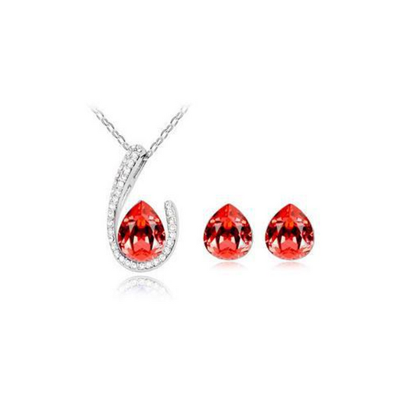 Franca - 4 Colors Swarovski Crystal Water Drop Silver Pendants Necklace & Earrings - LA MIA CARA JEWELRY - 4