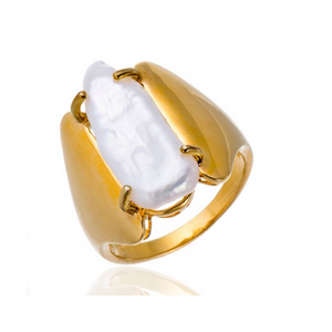 Statement Ring- Perla  Arc - Natural Freshwater Baroque Pearl  Ring - LA MIA CARA JEWELRY