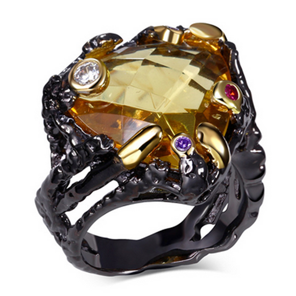 Cocktail Ring- Futurista - Champagne CZ Diamonds IP Black Gold Ring - La Mia Cara Jewelry