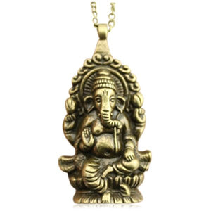 Ganesh - Symbol of New Beginning Antique Silver/ Antique Bronze Necklace - LA MIA CARA JEWELRY - 1