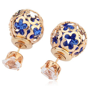 La Mia Cara Jewelry  - Gentiana - Double Side Pierced Crystal Earrings