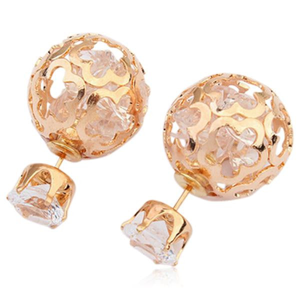 Gentiana - Crystal Pearl Rose Gold Stud Earrings - LA MIA CARA JEWELRY - 4