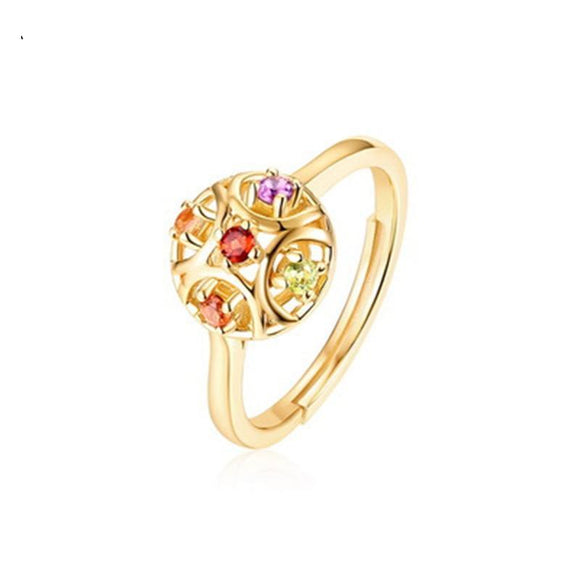 LA MIA CARA JEWELRY - Filigree - S925 Gold Ring in Pomegranate Colors