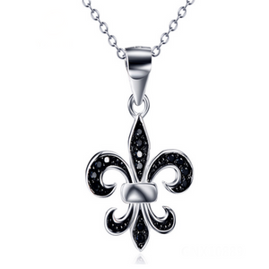 Giglio Nero- Black CZ Diamond Fleur De Lys Sterling Silver Necklace - LA MIA CARA JEWELRY