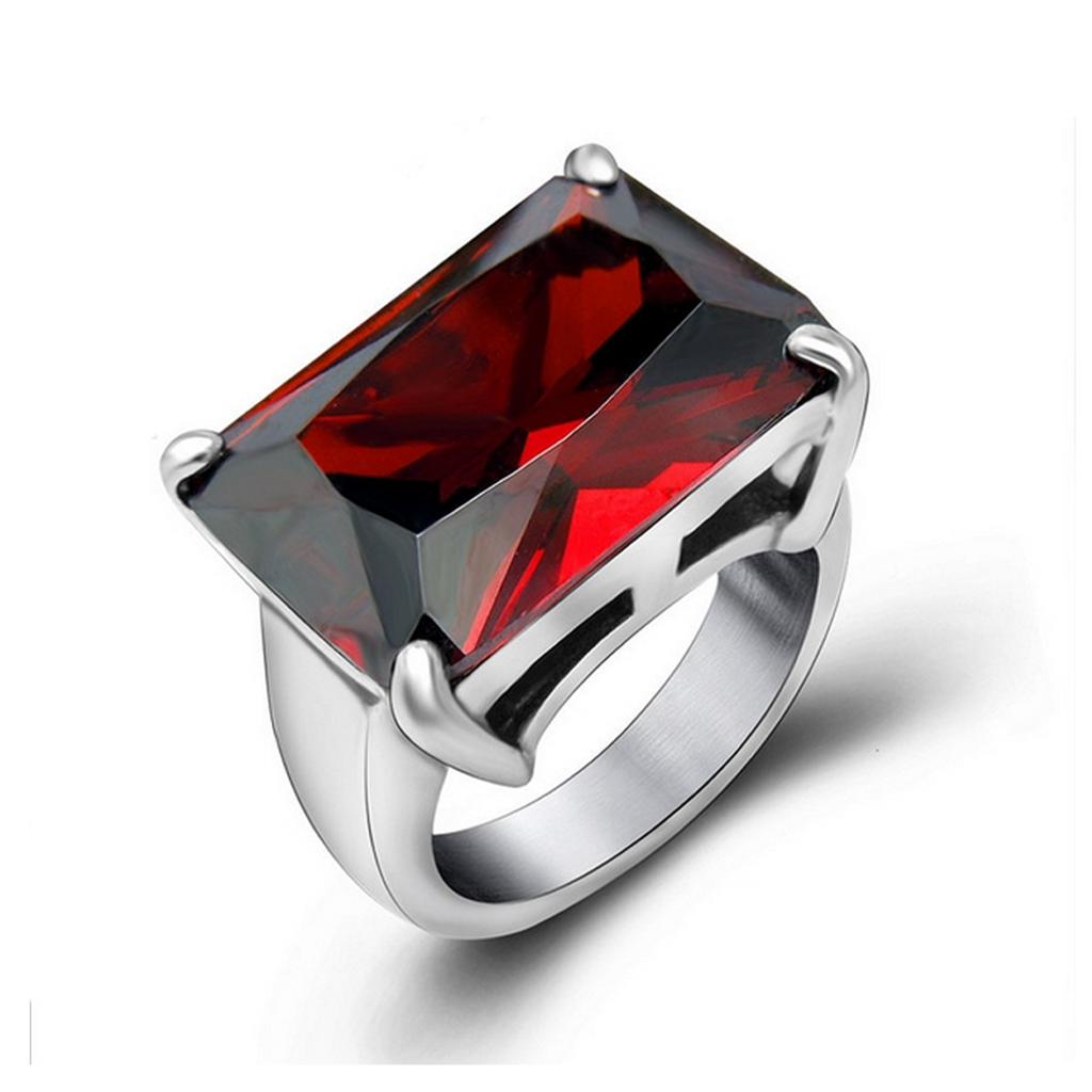 Cocktail Ring -Giorgia -  Graceful Red CZ Diamonds Silver Ring - LA MIA CARA JEWELRY