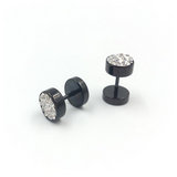 Giraldo - Crystal Rhinestone Stainless Steel Black / Silver Stud Earrings - LA MIA CARA JEWELRY - 1