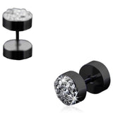 Giraldo - Crystal Rhinestone Stainless Steel Black / Silver Stud Earrings - LA MIA CARA JEWELRY - 3