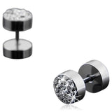 Giraldo - Crystal Rhinestone Stainless Steel Black / Silver Stud Earrings - LA MIA CARA JEWELRY - 4
