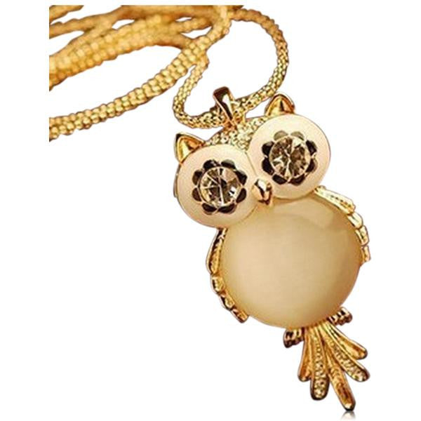 La Mia Cara Jewelry & Accessories - Gufo - Owl CZ Diamond Gold Long Chain Necklace
