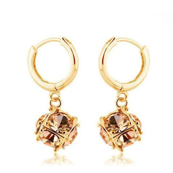 Gulia - Swarovski Crystal Silver / Gold Hoop Earrings - LA MIA CARA JEWELRY - 7
