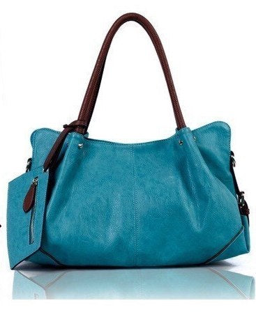 Turquoise Blanca - Genuine Leather Designer Tassel Handbag