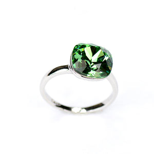 Green Pomello Nudo - Swarovski Crystal White Gold Statement Ring