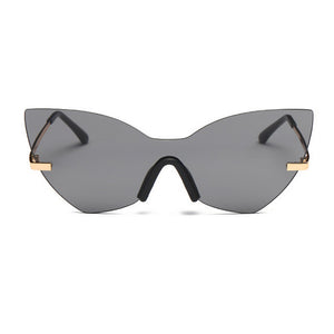 La Mia Cara - Los Angeles Grey - Cat Eye Rimless Shades Oversized Mirror Sun Glasses for Women