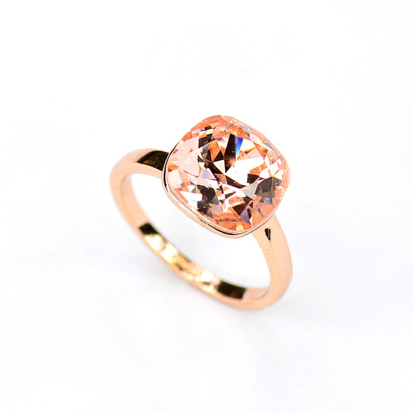Apricot Pomello Nudo - Swarovski Crystal  Rose Gold Statement Ring