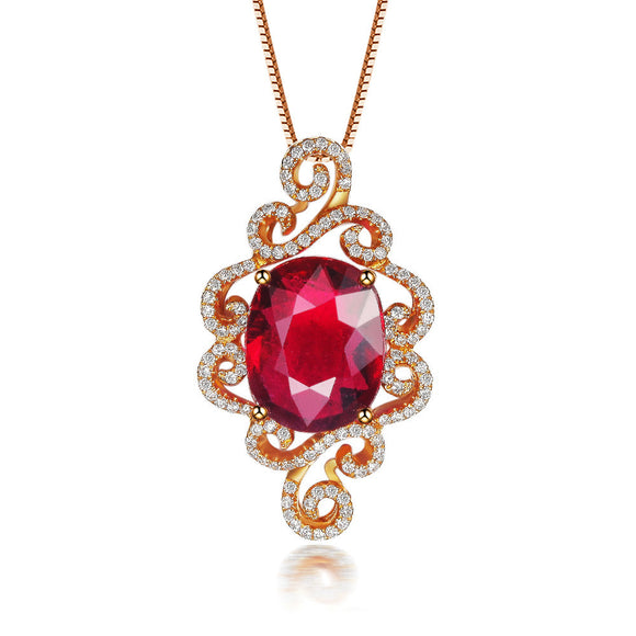 LA MIA CARA - Anjelika - Red Tourmaline & Diamonds Rose Gold Pendant