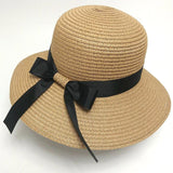 La Mia Cara - Cappelli Estate- Caramel Handcrafted Bowknot Big Brim Sun Hat with Black Ribbon