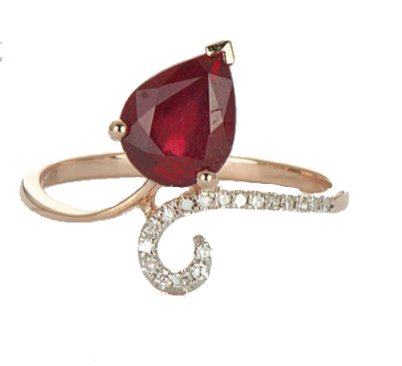 LA MIA CARA - Sina - Rose Gold Ruby & Diamond Ring