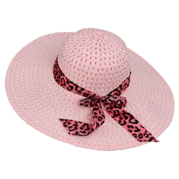 Cappelli Estate- Rose Handcrafted Candy Color Sun Straw Hat with Leopard Ribbon