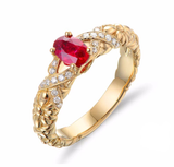 LA MIA CARA - Amisa - Red Blood Ruby & Diamond Yellow Gold Engagement Ring