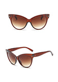 La Mia Cara Jewelry & Accessories - Amsterdam Brown - Vintage Oversized Circle Cat Eye Women Sunglasses