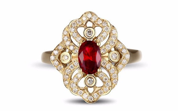 LA MIA CARA - Marie Antoinette - Victorian Ruby & Diamond Yellow Gold Engagement Ring