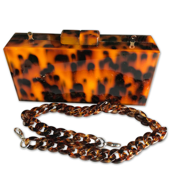 La Mia Cara - Gia - Leopard Clutch Purse Acrylic Bag