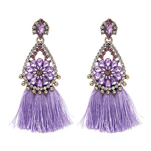 LA MIA CARA  - Purple Sylvie- New Trendy Ethnic Bohemia Tassel Earrings