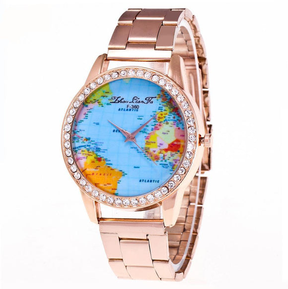 Amio - World Map Rose Gold Diamond Watch