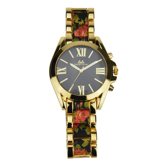 La Mia Cara Jewelry - Ketty - Floral Gold Quartz Black Rose Watch Design