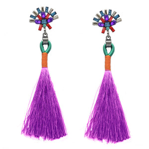 LA MIA CARA  - Orchid Sylvie- New Trendy Ethnic Bohemia Tassel Earrings