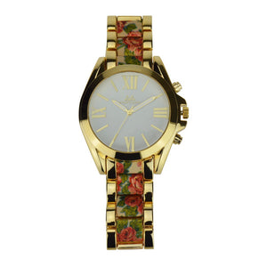 La Mia Cara Jewelry - Ketty - Floral Gold Quartz Rose Watch Design