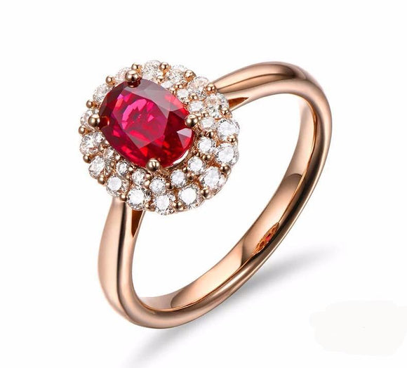 La Mia Cara - Antonella- Blood Ruby & Diamond Engagement Ring