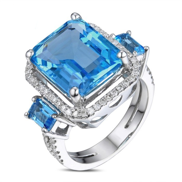La Mia Cara Jewelry - Davida 2 - Blue Topaz Diamond White Gold Cocktail Ring