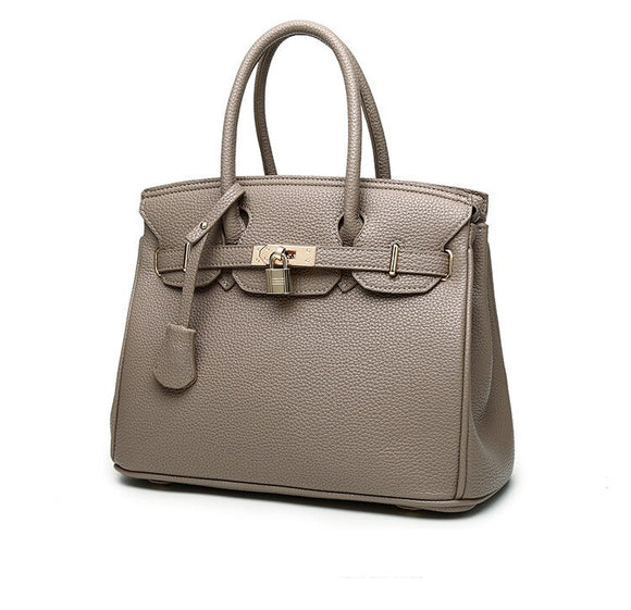 Grey  Zucchero - Genuine Leather Elegant Women Briefcase Bag