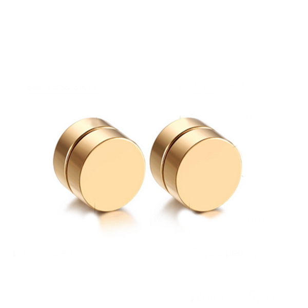 Ilario - Stainless Steel Magnetic Stud Earrings - LA MIA CARA JEWELRY - 5