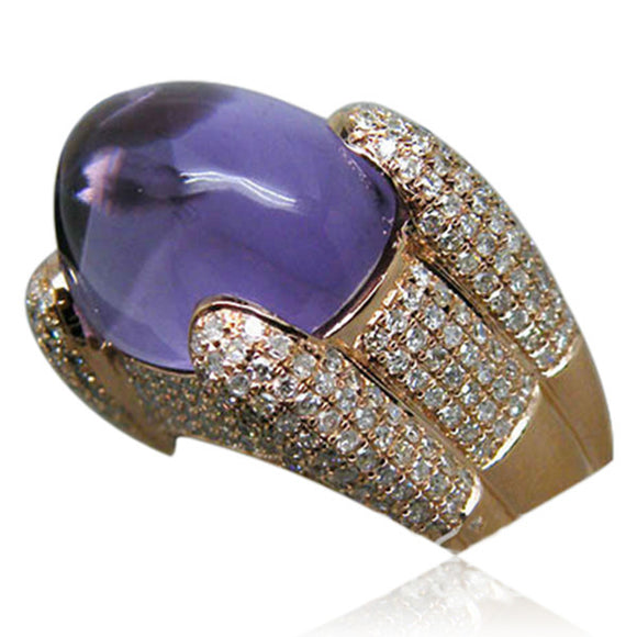 Statement Ring - Imperatrice - Amethyst Diamond Rose Gold Ring-La Mia Cara Jewelry