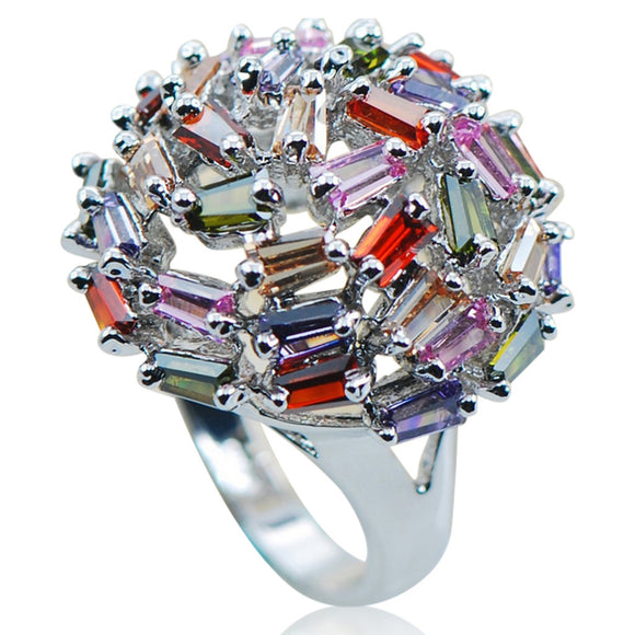 Cocktail Ring - Isabella - Peridot /Pink Sapphire/ Garnet & Morganite Silver Ring - La Mia Cara Jewelry