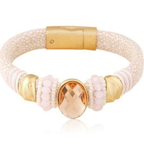 Isotta - 4 Colors Crystal Leather Magnet Bracelet - LA MIA CARA JEWELRY - 1
